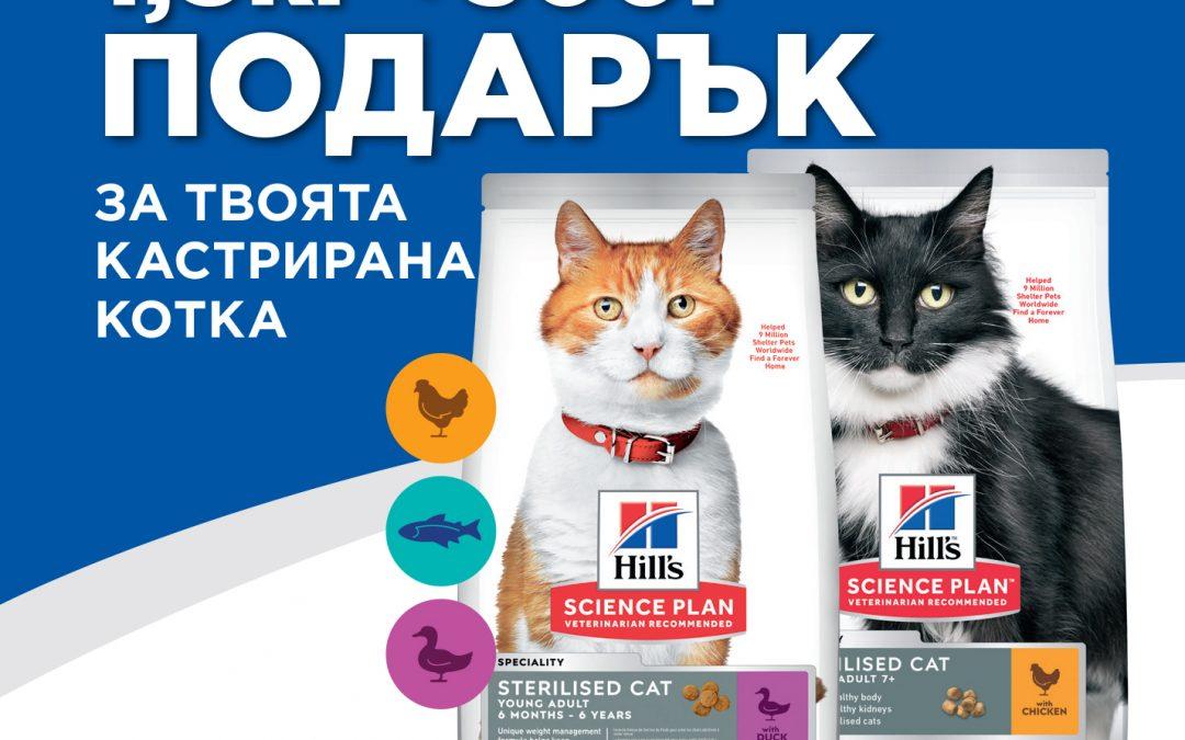 За кастрираните котки сега гратис килограми от Hill's